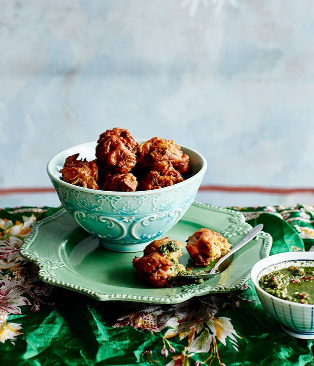 **Pekowrahs with coriander and mint chutney**