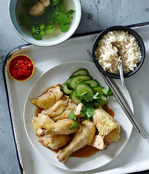 **Hainanese chicken rice**
