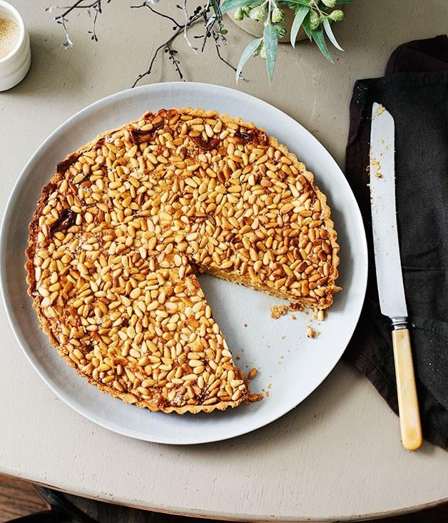 **Pine nut dulce de leche tart**