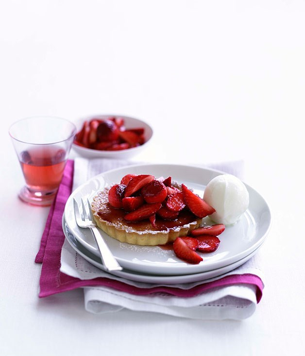 **Strawberry frangipane tartlets with sheep's milk yoghurt sorbet**