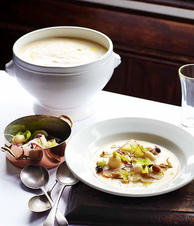 **Swede soup with pickled hazelnuts and turnips**
