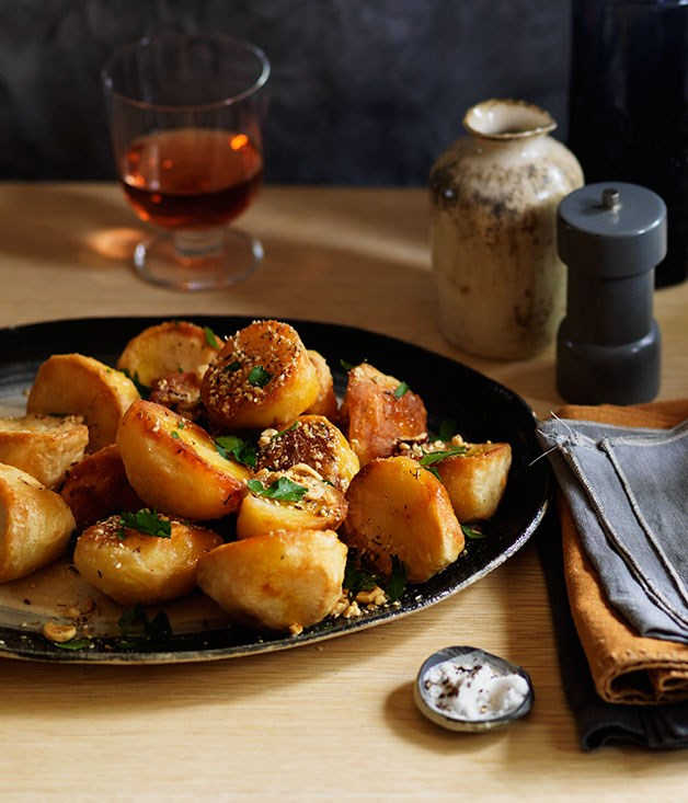 Goose-fat roast potatoes with dukkah