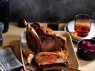 Beef rib roast with beetroot and horseradish