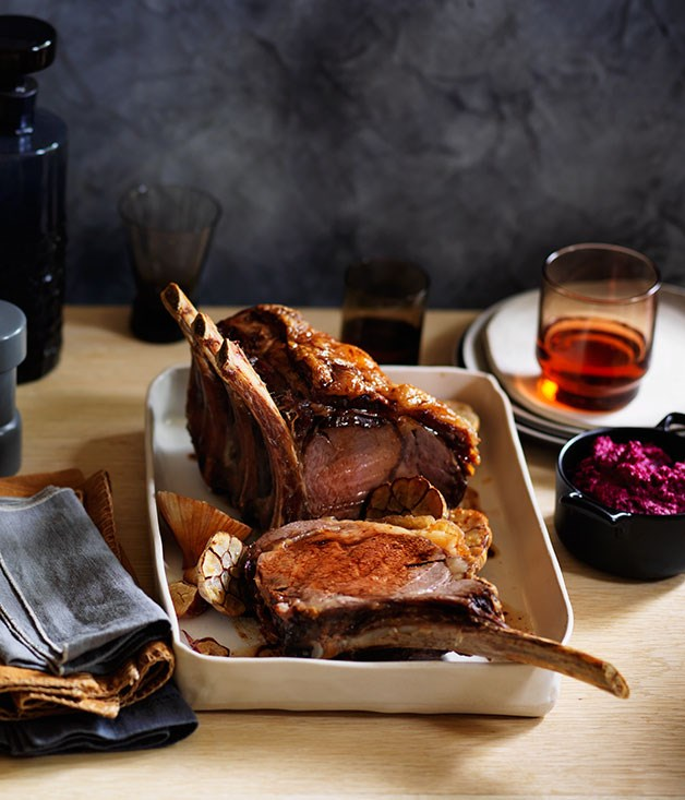 Beef rib roast with beetroot and horseradish