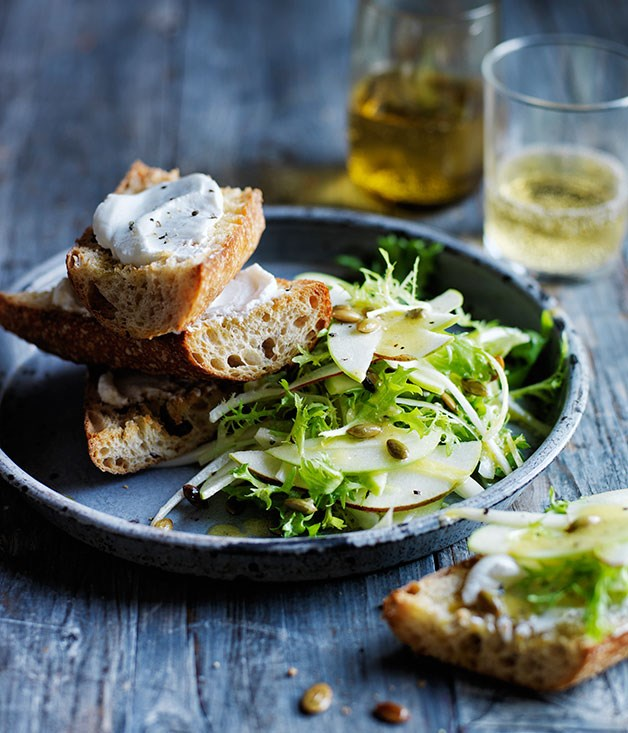 Pear, apple and frisée salad with goat's curd toasts