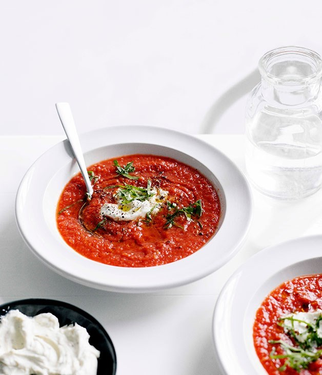 "[**Chilled spiced tomato soup with Middle Eastern herbs and labne**](https://www.gourmettraveller.com.au/recipes/fast-recipes/chilled-spiced-tomato-soup-with-middle-eastern-herbs-and-labne-13255|target=""_blank"")"