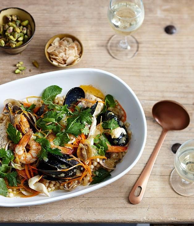 """[**Seafood khoresh**](https://www.gourmettraveller.com.au/recipes/chefs-recipes/seafood-khoresh-9183 target=""""_blank"""")"""