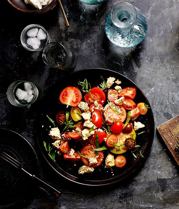 "[**Tomato, shanklish and tarragon**](https://www.gourmettraveller.com.au/recipes/chefs-recipes/tomato-shanklish-and-tarragon-8001|target=""_blank"")"