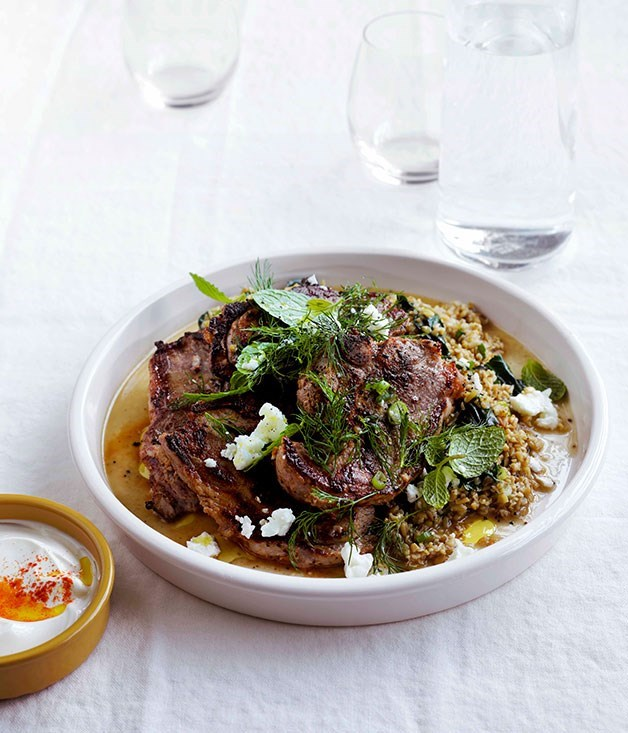 "[**Yoghurt lamb with freekah pilaf**](https://www.gourmettraveller.com.au/recipes/fast-recipes/yoghurt-lamb-with-freekah-pilaf-13220|target=""_blank"")"