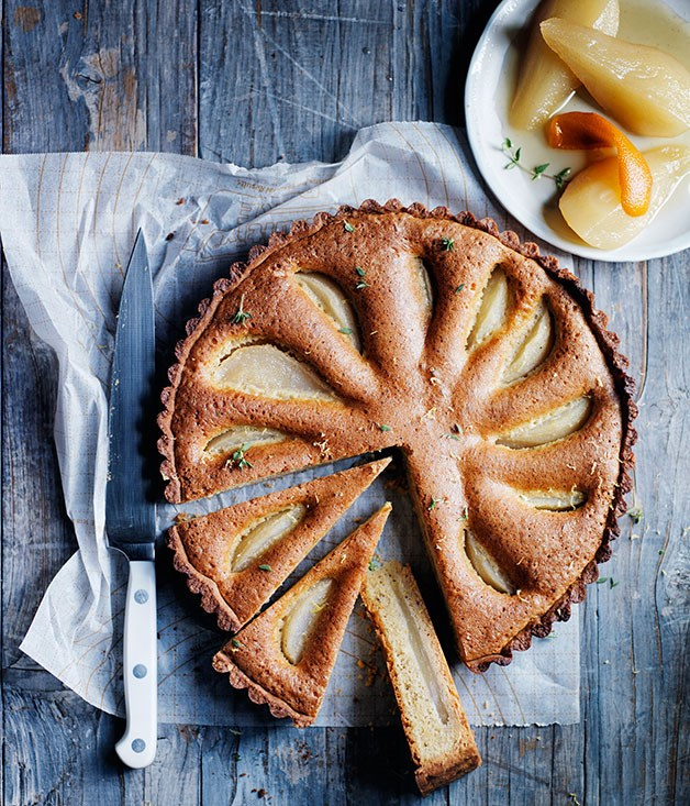 Pear, thyme and hazelnut tart