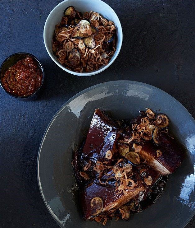 "[**Pork in sweet soy with sambal, fried shallots and eggplant**](https://www.gourmettraveller.com.au/recipes/browse-all/pork-in-sweet-soy-with-sambal-fried-shallots-and-eggplant-11942|target=""_blank"")"