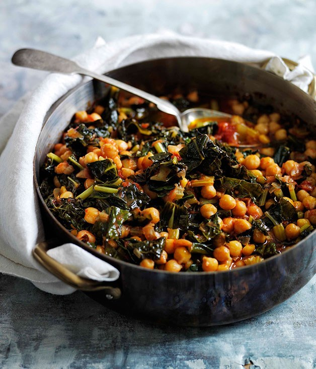 "[**Slow-braised chickpeas with cavolo nero**](https://www.gourmettraveller.com.au/recipes/browse-all/slow-braised-chickpeas-with-cavolo-nero-11656|target=""_blank"")"