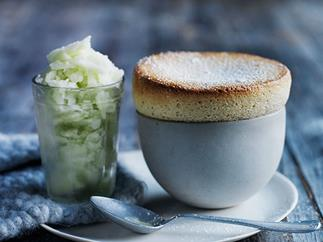 Pear and vanilla soufflés with apple sorbet