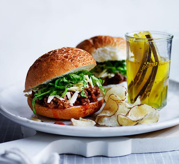 Sloppy Joes with pickles, cheese and chips