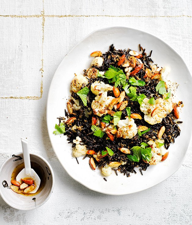 Wild rice pilaf with cauliflower, burnt butter and almonds