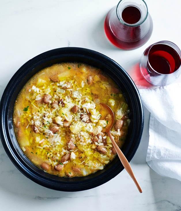 "**[Stefano Manfredi's rice and bean minestrone](https://www.gourmettraveller.com.au/recipes/chefs-recipes/rice-and-bean-minestrone-8265|target=""_blank"")**"