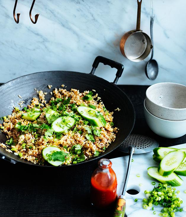 "**[Khao pad naem (Thai fried rice with pork sausage)](https://www.gourmettraveller.com.au/recipes/browse-all/khao-pad-naem-12280|target=""_blank"")**"