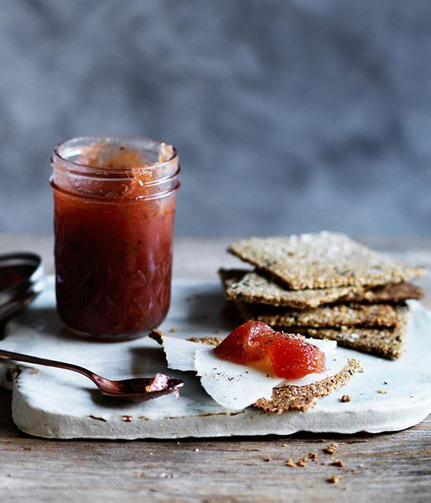 """**[Cloudy quince jam with Manchego seed crackers](https://www.gourmettraveller.com.au/recipes/browse-all/cloudy-quince-jam-with-manchego-seed-crackers-12285