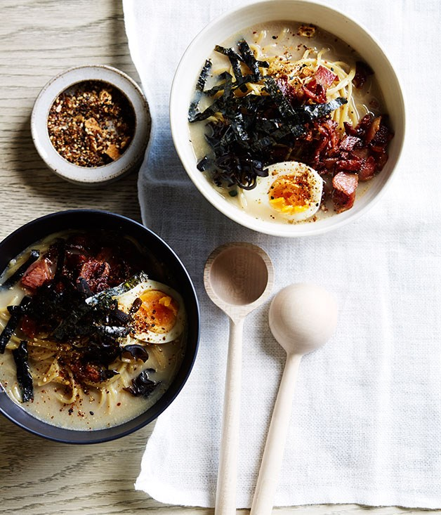 "**[Bacon and egg tonkotsu ramen](https://www.gourmettraveller.com.au/recipes/browse-all/bacon-and-egg-tonkotsu-ramen-12282|target=""_blank"")**"