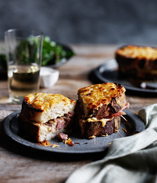 "**[Pork hock croque-monsieur](https://www.gourmettraveller.com.au/recipes/chefs-recipes/pork-hock-croque-monsieur-9225|target=""_blank"")**"