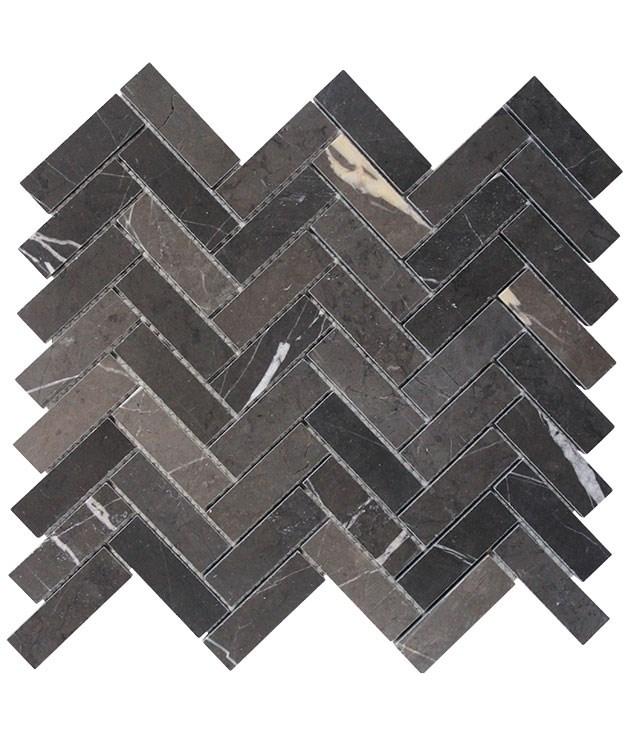"**Pietra Grey mosaic** Pietra Grey honed herringbone mosaic, $298 per square metre, from [Byzantine Design](http://www.byzantinedesign.com.au ""Byzantine Design"")."