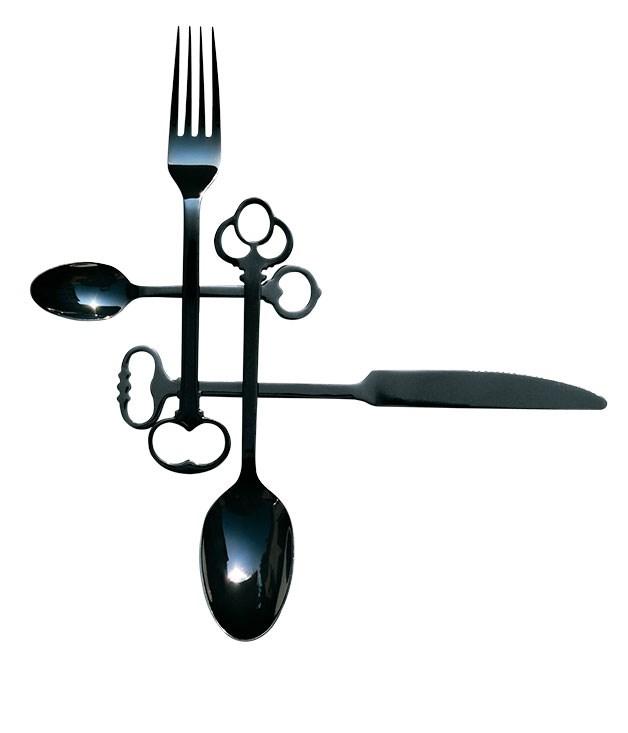 "**""Keytlery"" cutlery** ""Keytlery"" cutlery, $435 for a set of 24, from [Seletti](http://www.seletti.com.au ""Seletti"")."