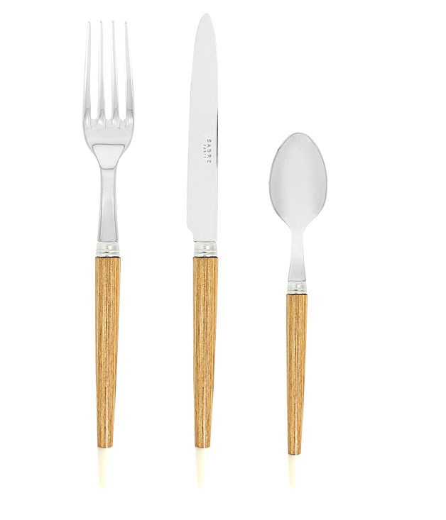 "**Sabre ""Aquarelle"" cutlery** Sabre ""Aquarelle"" fork, $26, knife, $32, and teaspoon, $22, from [Francalia](http://www.francalia.com.au ""Francalia"")."