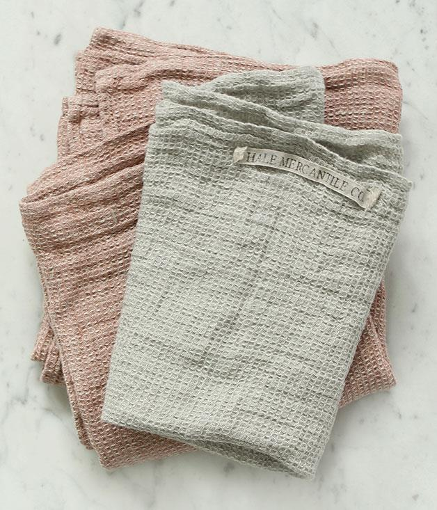 "**Tutto linen tea towels** Tutto linen tea towels, $32 each, from [Hale Mercantile Co](http://www.halemercantileco.com ""Hale Mercantile Co"")."
