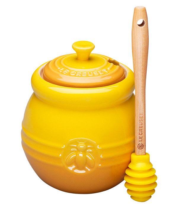 """**Honey pot** Honey pot and silicone dipper, $35, from [Le Creuset](http://www.lecreuset.com.au """"Le Creuset"""")."""