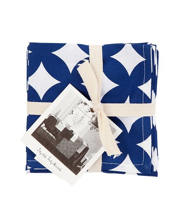 """**Marine napkins** Circles napkins in marine, $24.95 for four, from [Aura Home](http://www.aurahome.com.au """"Aura Home"""")."""