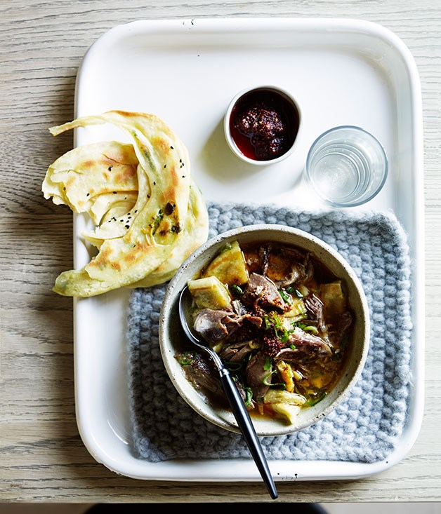 Lamb and spring onion pancake soup