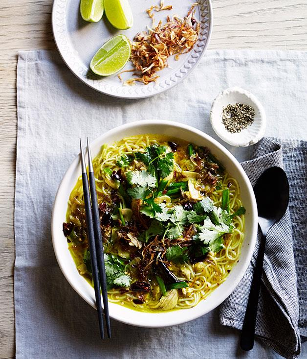 "**[Fragrant chicken noodle soup](https://www.gourmettraveller.com.au/recipes/browse-all/fragrant-chicken-noodle-soup-12295|target=""_blank"")**"