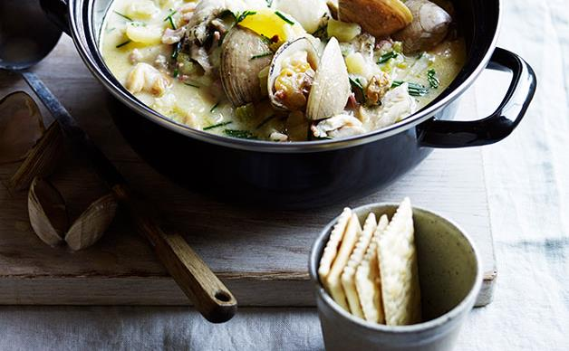 New England-style clam chowder and crackers