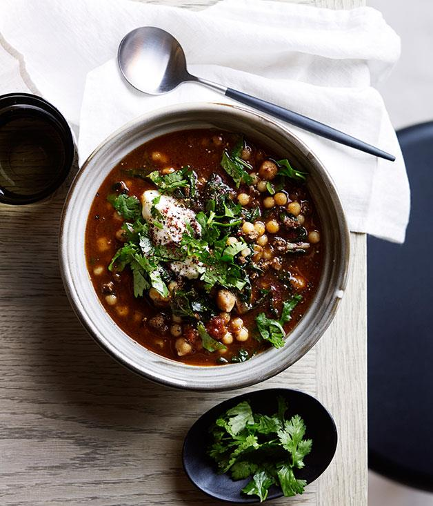 "**[Chickpea soup with sumac and yoghurt](https://www.gourmettraveller.com.au/recipes/browse-all/chickpea-soup-with-sumac-and-yoghurt-12296|target=""_blank"")**"