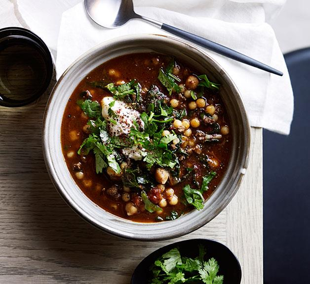 Chickpea soup with sumac and yoghurt