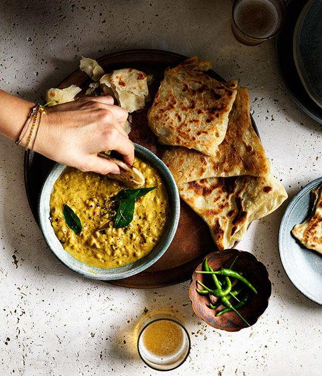 "**[Roti with chana dhal](https://www.gourmettraveller.com.au/recipes/browse-all/roti-with-chana-dhal-12301|target=""_blank"")**"