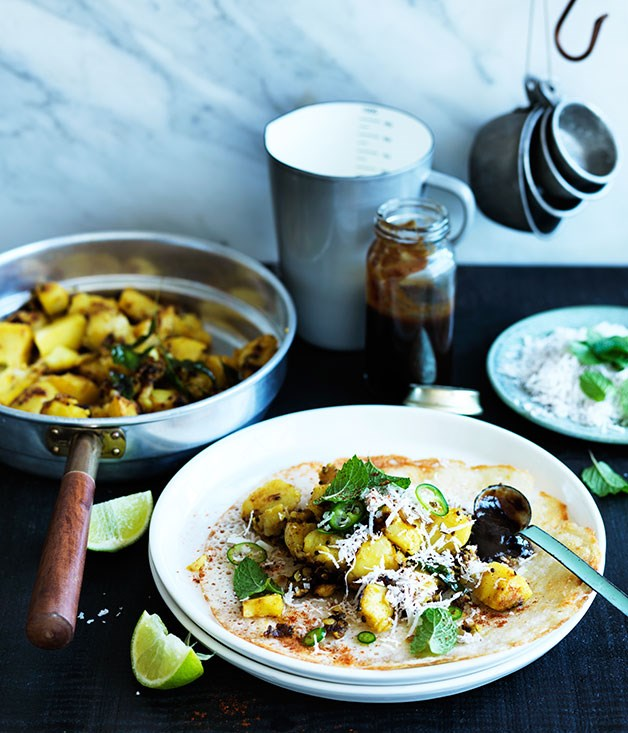 """**[Dosai with spiced potatoes and tamarind chutney](https://www.gourmettraveller.com.au/recipes/browse-all/dosai-with-spiced-potatoes-and-tamarind-chutney-12307 target=""""_blank"""")**"""