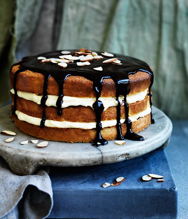 Orange custard cream layer cake