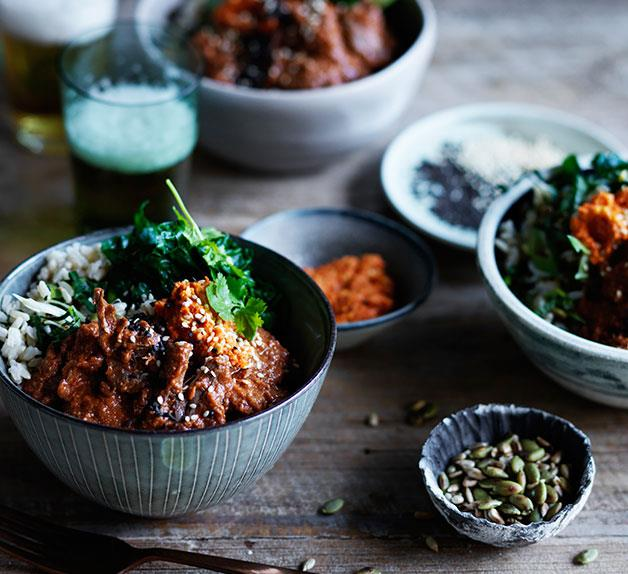 Rice bowl with braised oxtail and mole rojo