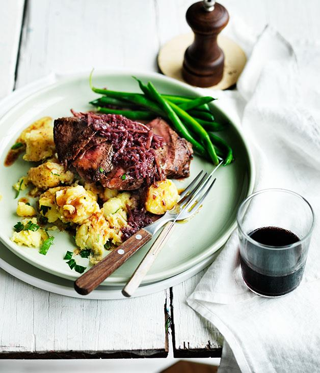 """**[Flat-iron steak with red wine and ginger sauce and crushed potatoes](http://www.gourmettraveller.com.au/recipes/fast-recipes/flat-iron-steak-with-red-wine-and-ginger-sauce-and-crushed-potatoes-13612