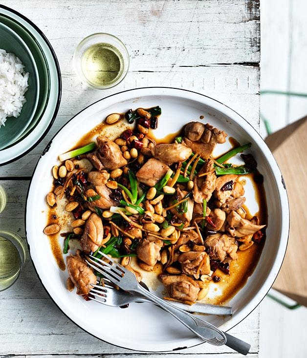"**[Kung pao chicken](https://www.gourmettraveller.com.au/recipes/fast-recipes/kung-pao-chicken-13614|target=""_blank"")**"