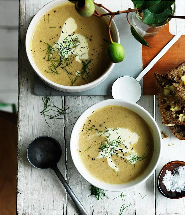 "**[Cream of fennel and potato soup](https://www.gourmettraveller.com.au/recipes/fast-recipes/cream-of-fennel-and-potato-soup-13615|target=""_blank"")**"