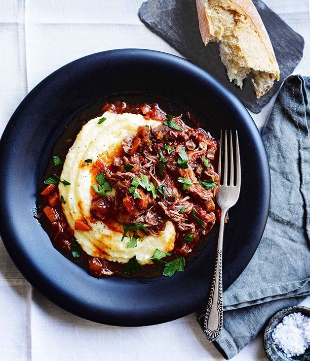 **Braised duck, Valpolicella, tomato and rosemary with polenta**
