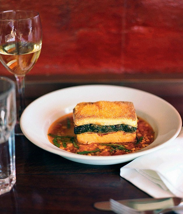 **Lasagne of spinach, polenta and goat's curd**
