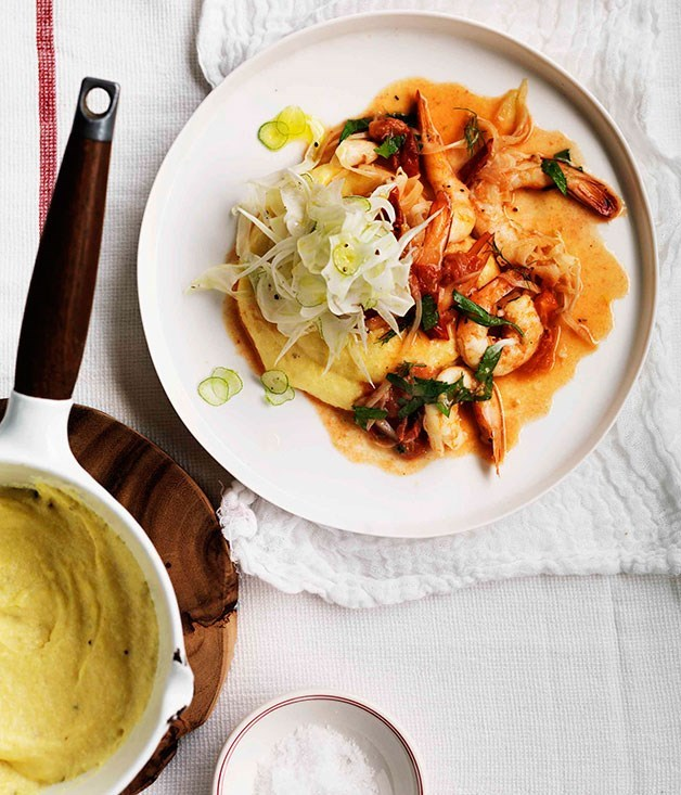 **Prawns on soft polenta**