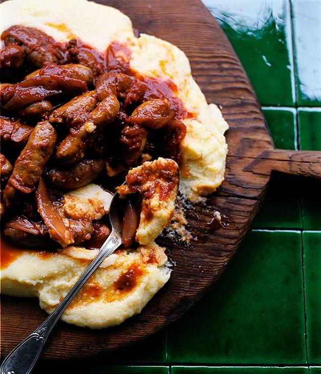 **Tomato-braised sausages on parmesan polenta**