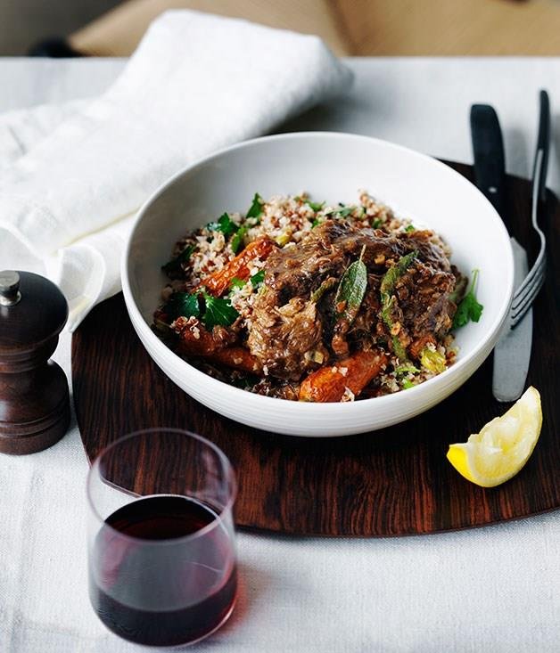 """**[Braised lamb with roast carrot and mixed grains](https://www.gourmettraveller.com.au/recipes/chefs-recipes/braised-lamb-with-roast-carrot-and-mixed-grains-9135