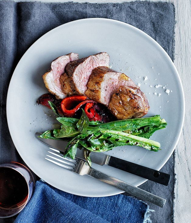 **Grilled lamb rump with roasted peppers and grilled dandelion**
