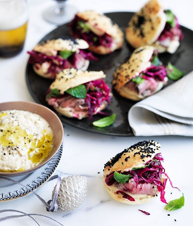 "**[Pide rolls with roast lamb and beetroot](https://www.gourmettraveller.com.au/recipes/browse-all/pide-rolls-with-roast-lamb-and-beetroot-11838|target=""_blank"")**"