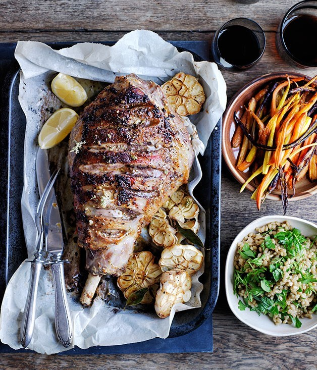 **Roast lamb and carrots with buckwheat and carrot-top pilaf**